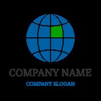 Blue Globe with Green Segment Logo Design