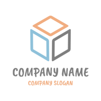 Cube Silhouette with Colored Faces Logo Design