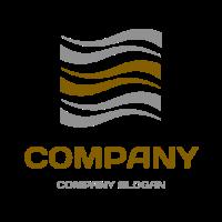 Curved Waves Inside a Square Logo Design