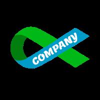 Folded Ribbon with Company Name Logo Design
