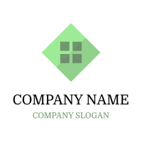 Abstract Logo | Green Rhombus with Dark Window