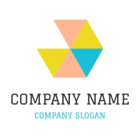 Hexagon Made Up of Colored Triangles Logo Design