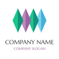 Multicolored Crystals Arranged Vertically Logo Design