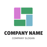 Square Consisting of Four Elements Logo Design
