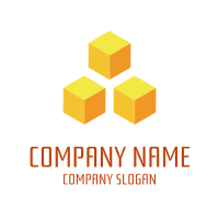 Abstract Logo | Three Orange Cubes by Rank