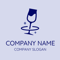 Blue Wine Glass with Two Stars Logo Design