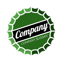 Green Bottle Cap with White Text Logo Design