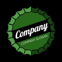 Green Bottle Cap with White Text Logo Design