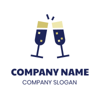 Two Champagne Glasses Logo Design
