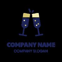 Two Champagne Glasses Logo Design