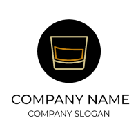 Whiskey Glass in Black Circle Logo Design