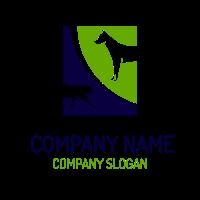 Abstract White Pet Silhouettes Logo Design
