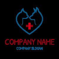 Animal Hospital with Red Cross Logo Design