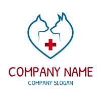 Animal Hospital with Red Cross Logo Design