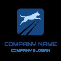 Big Blue Jumping Dog in a Frame Logo Design