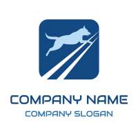Big Blue Jumping Dog in a Frame Logo Design