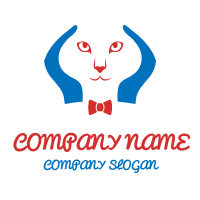 Cats Face in the Blue Arms Logo Design