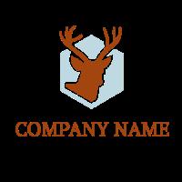 Animals & Pets Logo | Deer Silhouette on Hexagon Background