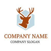 Deer Silhouette on Hexagon Background Logo Design