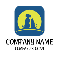 Animals & Pets Logo | Dog and Cat in the Moonlight