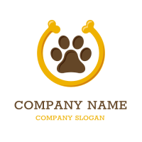 Animals & Pets Logo | Dog Footprint and Yellow Bone