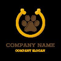 Dog Footprint and Yellow Bone Logo Design