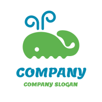 Animals & Pets Logo | Green Whale on the Waves