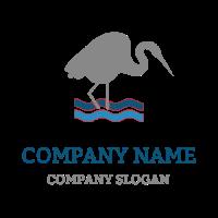 Grey Heron and Blue Waves Logo Design
