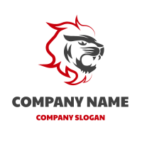 Lion Head with Red Mane Logo Design