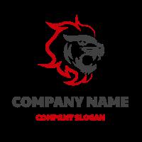Lion Head with Red Mane Logo Design
