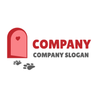 Open Red Door and Footprints Logo Design