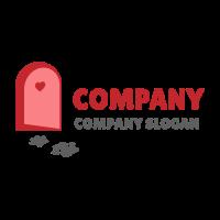 Open Red Door and Footprints Logo Design