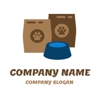 Packages of Pet Food and a Bowl Logo Design
