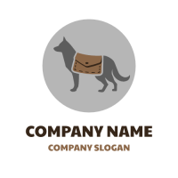 Animals & Pets Logo | Rescue Dog with Brown Bag