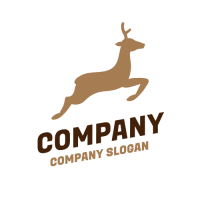 Silhouette of a Jumping Deer Logo Design