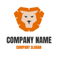 Animals & Pets Logo | Silhouette of a Lion with an Orange Mane