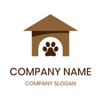 Small Brown House for Dogs Logo Design
