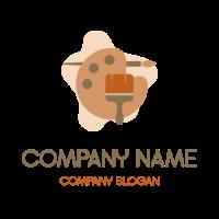 Artists Palette and Brushes Logo Design