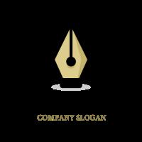Golden Writing Pen Tip for School Logo Design