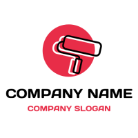 Pink Paint Roller in a Round Logo Design