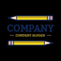 Two Long Yellow Pencils Logo Logo Design