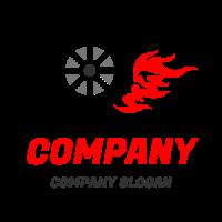 Black Racing Wheel with Flames Logo Design
