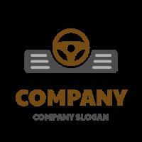 Car Panel with Steering Wheel Logo Design