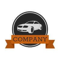 Classic Car Logo with Ribbon Logo Design