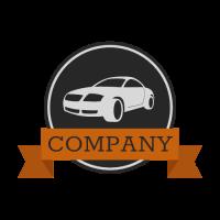Classic Car Logo with Ribbon Logo Design