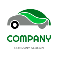 Eco Car with Green Leaves Logo Design