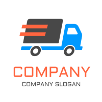 Fast Moving Truck with Lines Logo Design