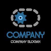 Gear Inside the Rotating Chain Logo Design