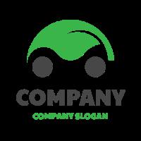Green Leaf with Grey Wheels Logo Design