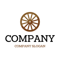 Minimalistic Two Color Cart Wheel Logo Design
